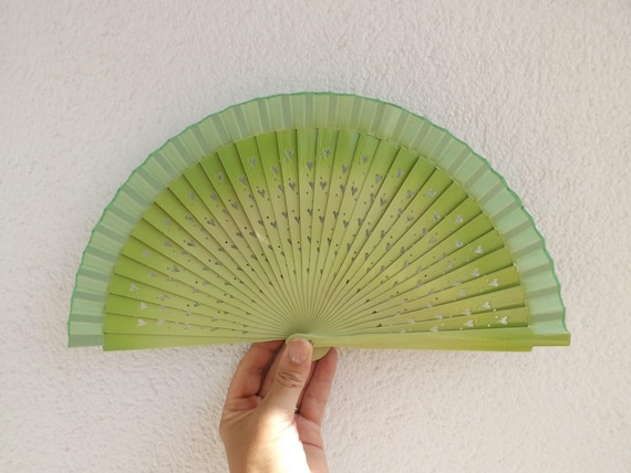 Two Tone Green With Heart Cut Detail Design Spanish Hand Fan Limited Edition