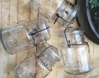 Antique Presto glass top canning jars set of four