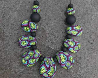 HYPNOSIS - polymer clay drop necklace
