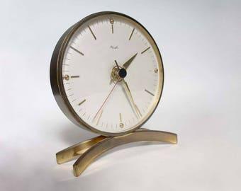 Kienzle table clock, midcentury modern mantle clock, brass round clock with arched feet, 1950s art deco clock, minimalist office desk clock