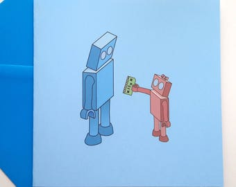 Father's Day Robot Card - Boy or Girl Robot
