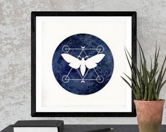Original Watercolor Blue Moth Sacred Geometry Space Painting Moon Star Galaxy Art OOAK