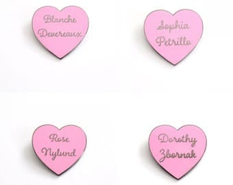 "All Four Golden Girls Heart Pins in Black and Rose Gold // TV Show inspired // 1.25"" hard enamel lapel pin"