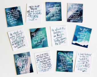 12 3x4 Peace in the Storms Watercolor Handlettered Modern Calligraphy Scripture Memory Cards Waves Ocean Bible Verse Digital Download