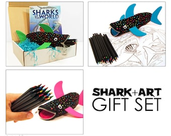 Shark and Art Gift Set - Shark Party - Art Supplies - Pencil Case - Colored Pencils - Coloring Book - Kids Birthday Gift - Ready to Ship