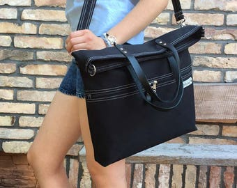 Solid Black Tote Bag, Canvas Messenger Crossbody Bag, Black Minimalist Foldover Bag, Large Functional Bag, Unisex Tote Bag, school bag