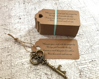"Skeleton Key BOTTLE OPENERS + ""Poem"" Thank-You Tags – Wedding Favors set of 100 - Ships from United States - Antique Bronze - Josephine"