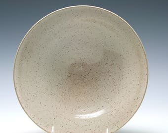 Rustic Ceramic Serving Bowl in shades of Creamy White and Brown/Ceramics and Pottery