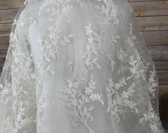 White Lace Fabric with allover embroidery Flower Petal Design and scalloped  edges on both sides.  Bridal Wear, Bridal Veil, Gloves