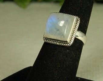 Moonstone Ring, Size 7, Vibrant Blue Flash, Square Moonstone, Sterling Silver, June Birthstone, Natural Moonstone, Blue Moonstone