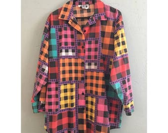 Colorful Gingham Plaid Long Sleeve Button Up