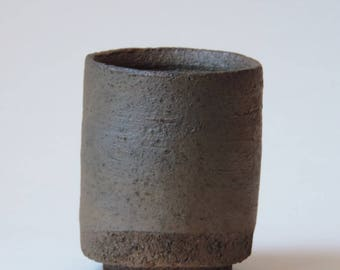Wood Fired Tea Cup, Yunomi Reduction Cooled Local California Clay, #619