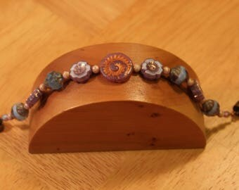 Captiva Island, Handmade Bracelet, with Czech Glass Beads & Magnetic Clasp, 7.25 inches