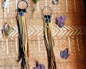 Gypsy leather fringe banjara India medallion ear weights plugs Antiqued Copper Gypsy plugs gauges