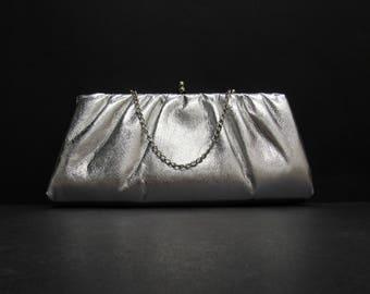 Vintage Silver Kiss Lock Evening Bag Clutch (E9726)