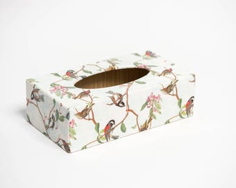 Birdsong Tissue Box Cover handmade in UK wooden perfect gift