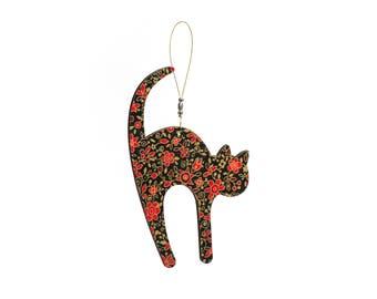 Black Cat Christmas Tree Decoration wooden handmade