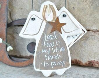 Personalized Baptism Favor / Christening Gift Salt Dough Angel Ornament