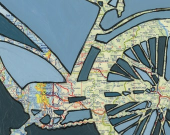 Seattle no.2 - medium print - 13x13 & 16x16 - feat. Seattle, Bellevue, Leavenworth, Wenatchee, Snoqualmie, Washington bike art bicycle
