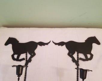 Metal horse candlestick