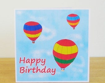 Hot Air Balloon Birthday Card, Recycled Card, Card for her, Card for him