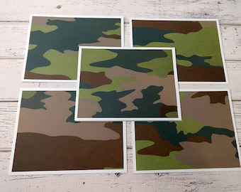 Blank Note Cards, Note Card Set, Blank Cards, Thank You Notes, Stationary, Set of 5 Note Cards with Matching Envelopes, Camouflage Cards