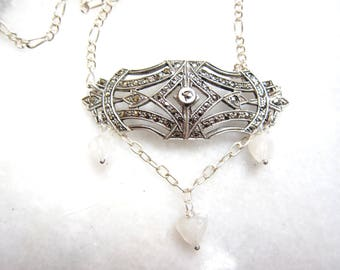 Vintage Sterling and Marcasite Pendant Necklace with Moonstone