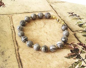 Bracelet Pierre de Jaspe paysage gris 16 perles 8 mm  / Laiton doré - Gray jasper Bracelet Gold plated brass