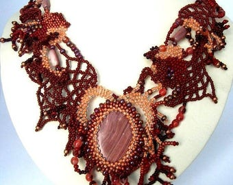 SALE Brown necklace Brown jewelry Beaded necklace Beaded jewelry, Statement necklace, Unique gift for her, Freeform beadwork  Artistic jewel