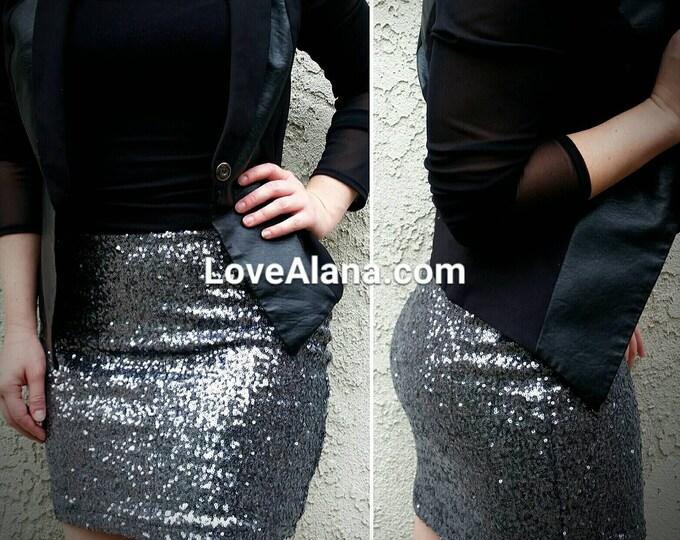 Free Shipping! Gunmetal Sequin Skirt - Stretchy, Beautiful Dark Silver Mini. Ships asap!