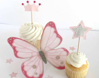 Princess Crown Cupcake Toppers, Girls Princess Birthday, Pretty in Pink, Sweet 16 Party, Magic Star Wand Toppers, Decorated Toothpicks