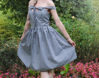Dress in gingham - changeable straps system! -Size 34 to 46 to order