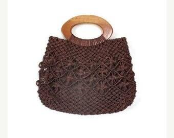 ON SALE Vintage Macrame Top Handle Handbag