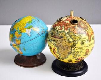 Vintage Globe Pencil Holder