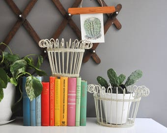 Mid-Century Pair of Wire Scroll Top Planters - White Plant Holders