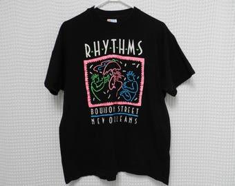 vintage 90s New Orleans T Shirt NEON Jazz Bourbon Street Rhythms Large black tee music tourist single stitching Hanes Southern Nawlins pink