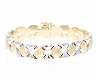 """Italian Link Bracelet 6 3/4"""" - 14k Yellow & White Gold Brushed Woven Lattice U1695"""