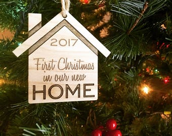 First Christmas In Our New Home - Customizable Christmas Ornament - Couple's First Christmas Together Engraved Birch Wood Ornament