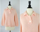 MOVING SALE Vintage light pink retro collared sweater / soft knit jumper