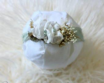 Seafoam Silk Flower Tieback, baby girl, headband, flower, newborn, photo prop, ready to ship, accessories, hair, ready to ship