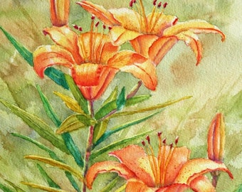 Lilies Original Watercolor Painting | Flower painting | floral painting | wall art | orange flowers, Green, Yellow