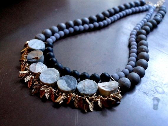 Gray necklace - Bohemian chunky necklace