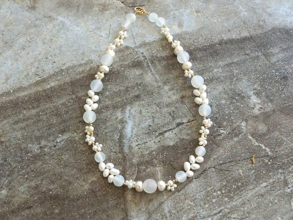 White gemstone necklace - delicate choker necklace