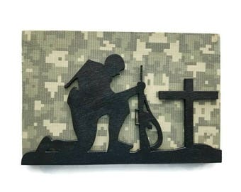 Small Military Loss Plaque, Army, ACU Print, Veteran, Memorial Plaque