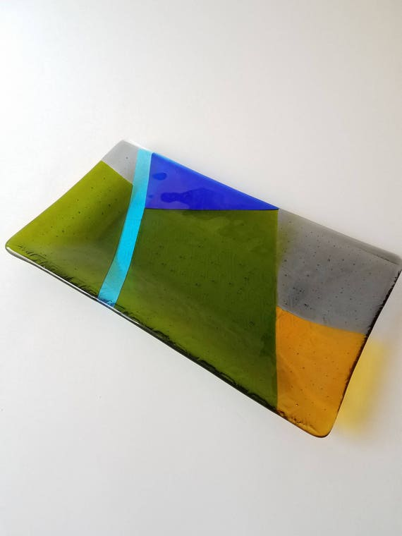 Multi-Color Geometric Glass Serving Dish