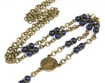 Beaded Lanyard, Saint Benedict Medal, Blue Swarovski® Pearls and Brass Chain ID Holder