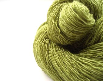 Hand dyed Merino Silk Lace yarn hand painted: Subtle Moss