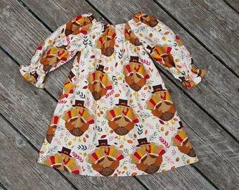 Fall Girl's Infants Toddler Thanksgiving Turkey Peasant Dress