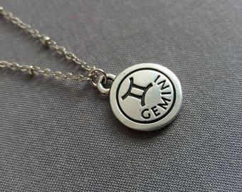 Zodiac Necklace. Gemini Necklace. Silver Gemini Pendant. Gemini Charm Necklace. Hand Stamped Initial. Birthday Gift. June Birthday Gift Idea