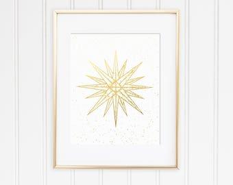 Gold Foil Moravian Star Print